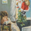 Antique Christmas Postcard Santa Claus Climbing Through Window Divided Posted