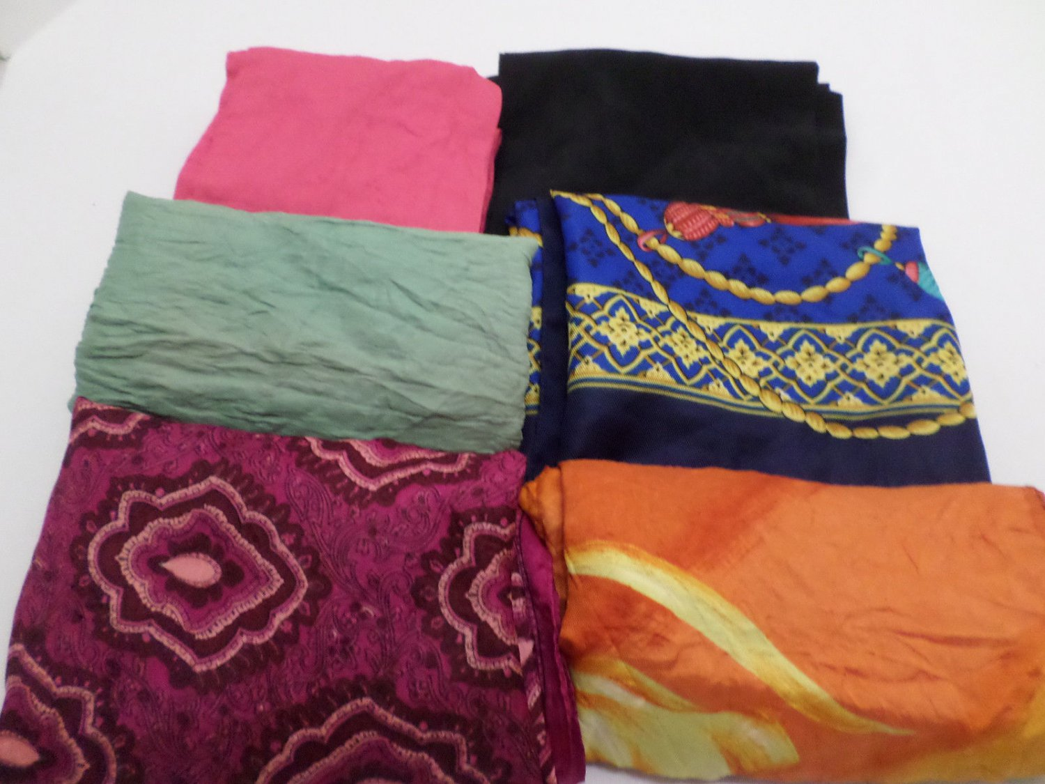 Lot of Vintage Ladies Scarves 100% Silk 100% Polyester Paoli Avon for Crafts