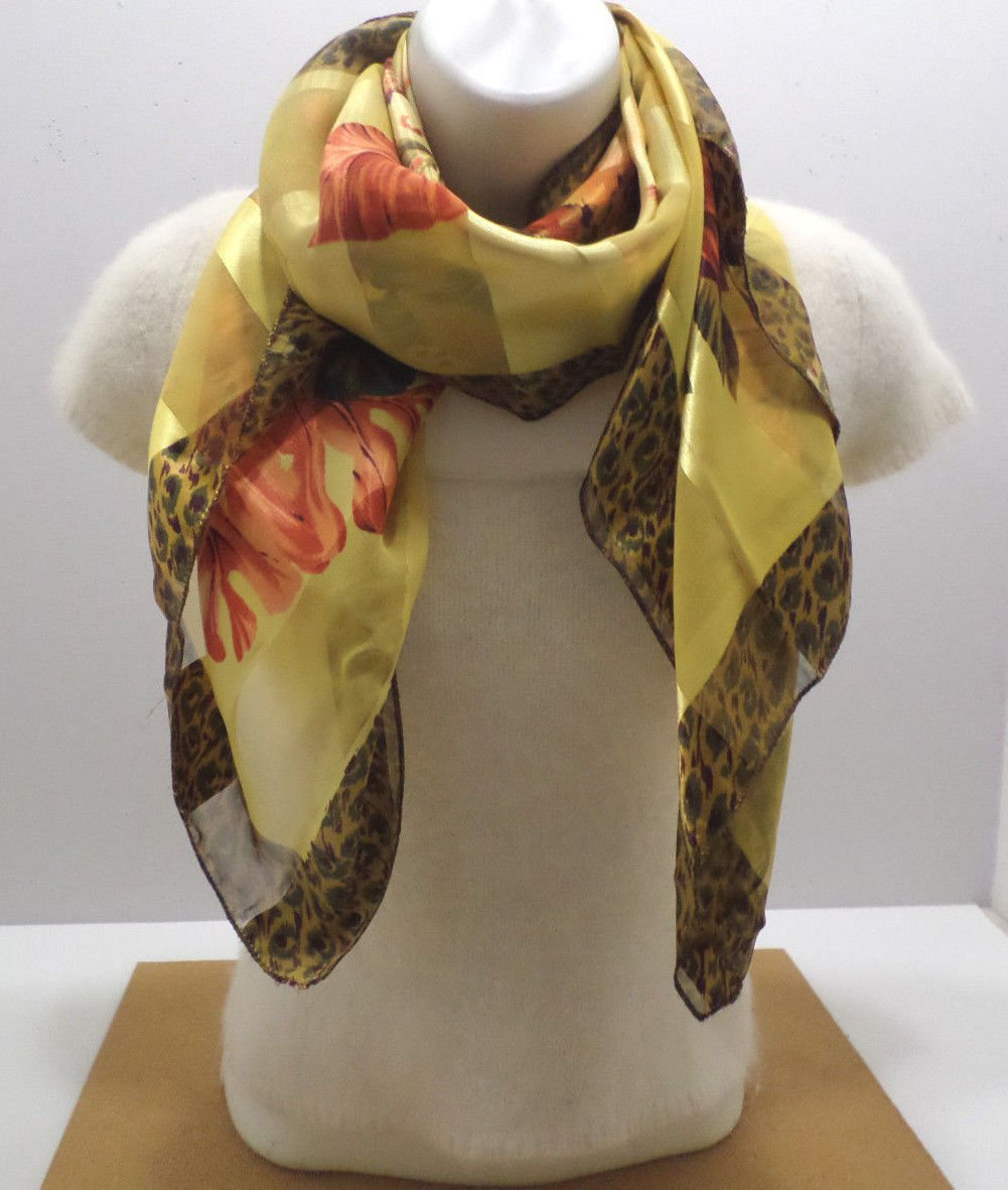 Womens Scarf Polyester Yellow Brown and Orange made in Korea