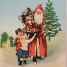 Antique 1909 Christmas Postcard Santa Claus Gives Children a Basket of Fruit