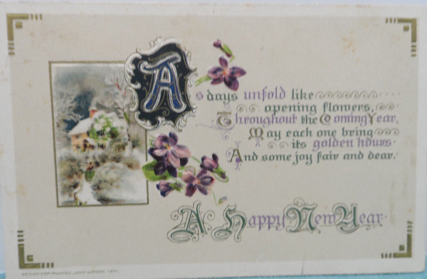 Antique 1914 New Year Postcard Floral by Winsch Germany Embossed Divided Posted