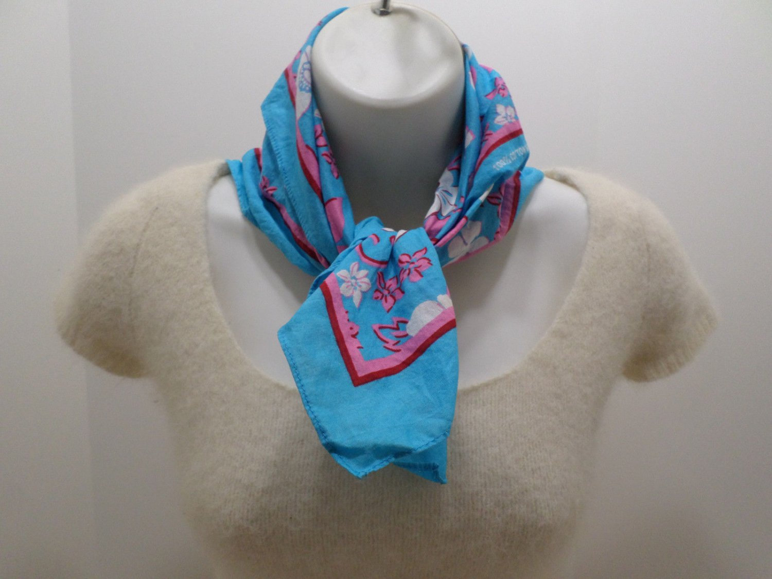 Vintage Scarf 100% Cotton #13960 Light Blue with Pink/White Flowers Design