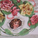 Antique Birthday Postcard Little Girl pink Yellow Roses Unposted Embossed