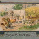 1908 Easter Postcard Rabbits Hen Lamb Posted Divided