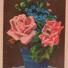 Antique Birthday Postcard Pink Roses Divided Unposted Germany