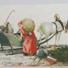 Antique Christmas Postcard Santa Claus with Toys in Horse and Sleigh Germany