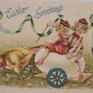 1907 Easter Postcard Baby Chick Pulling Little Girls on an egg Cart Embossed