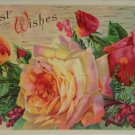 Antique Best Wishes Postcard Yellow Red Roses Unposted Divided