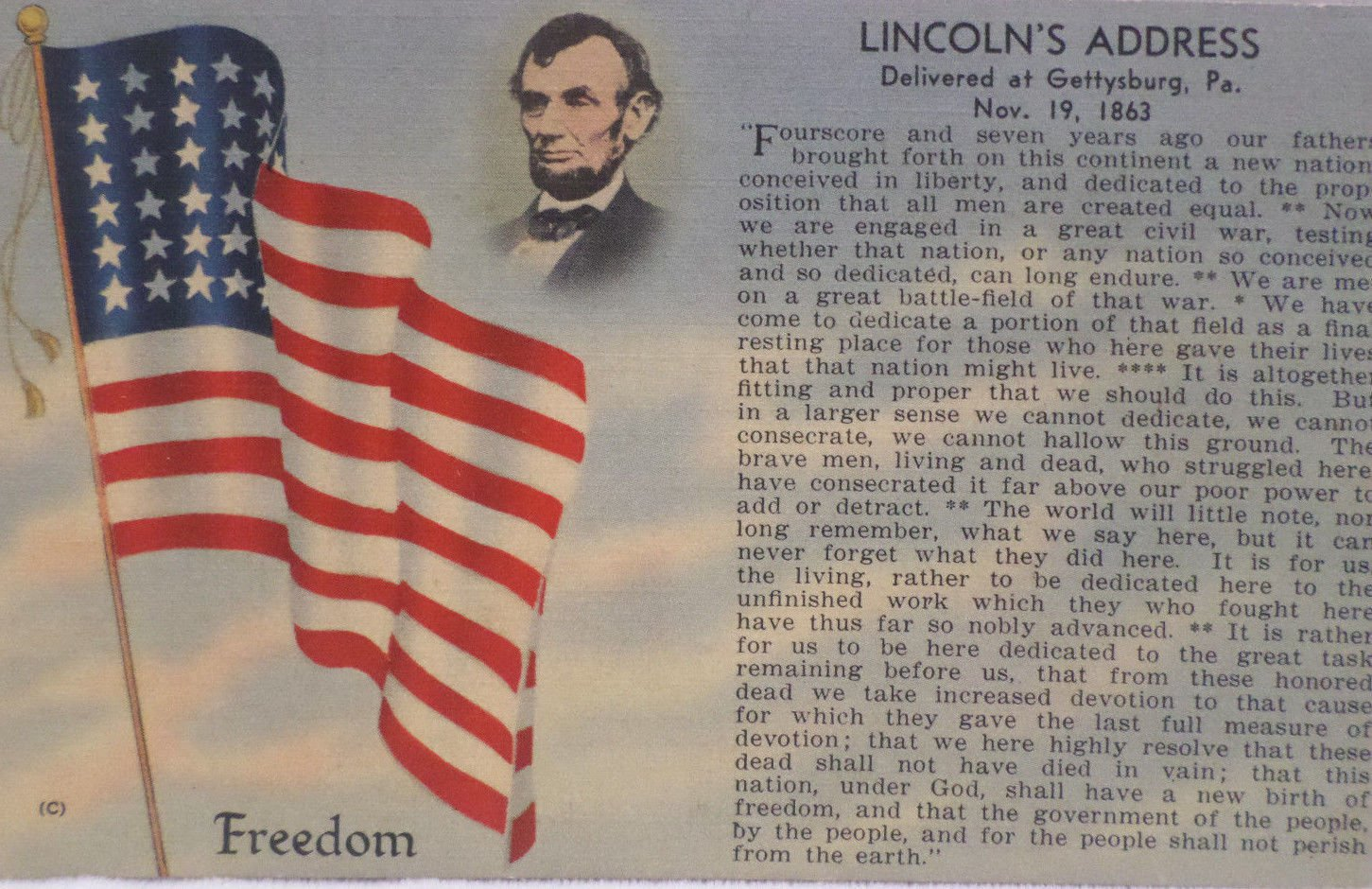 Antique Postcard President Abraham Lincoln Gettysburg Address unposted  Divided