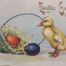 Antique Easter Postcard Baby Duck Eggs Basket Embossed Unposted Divided