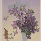 Antique Easter Postcard Floral John Winsch Germany Embossed Unposted Divided