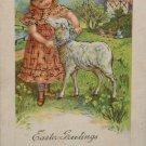Antique Easter Postcard Little Girl Lamb Unposted Divided