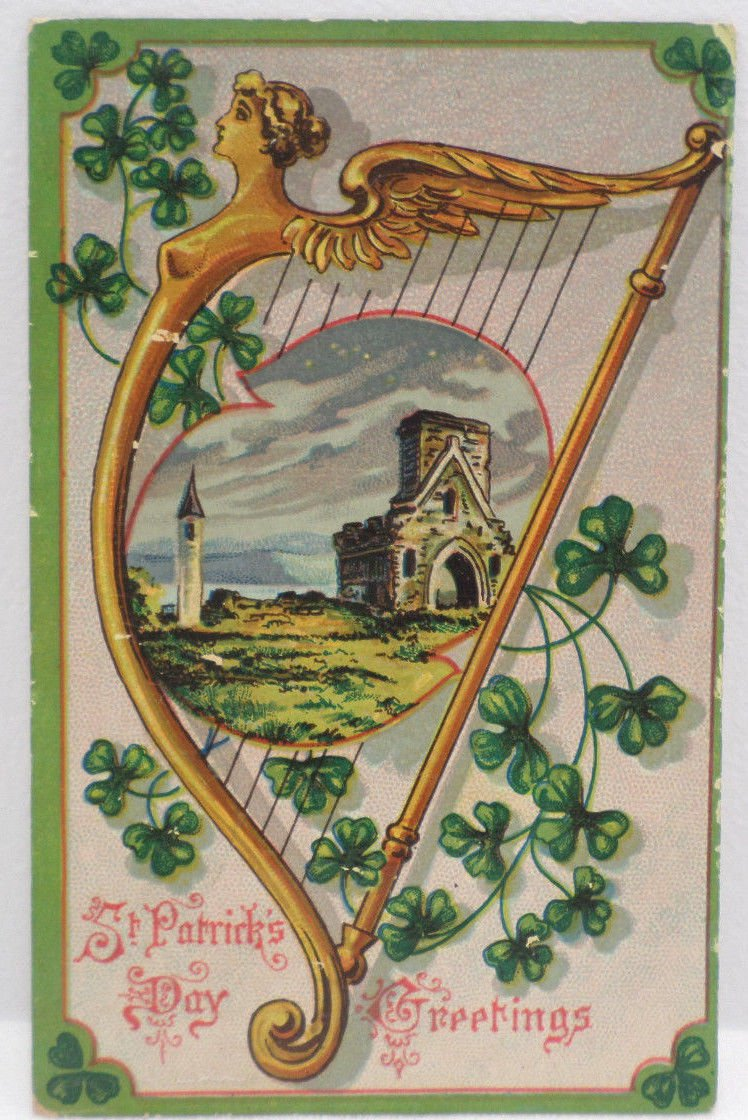 Antique Postcard Saint Patricks Day  Glossy Posted Divided