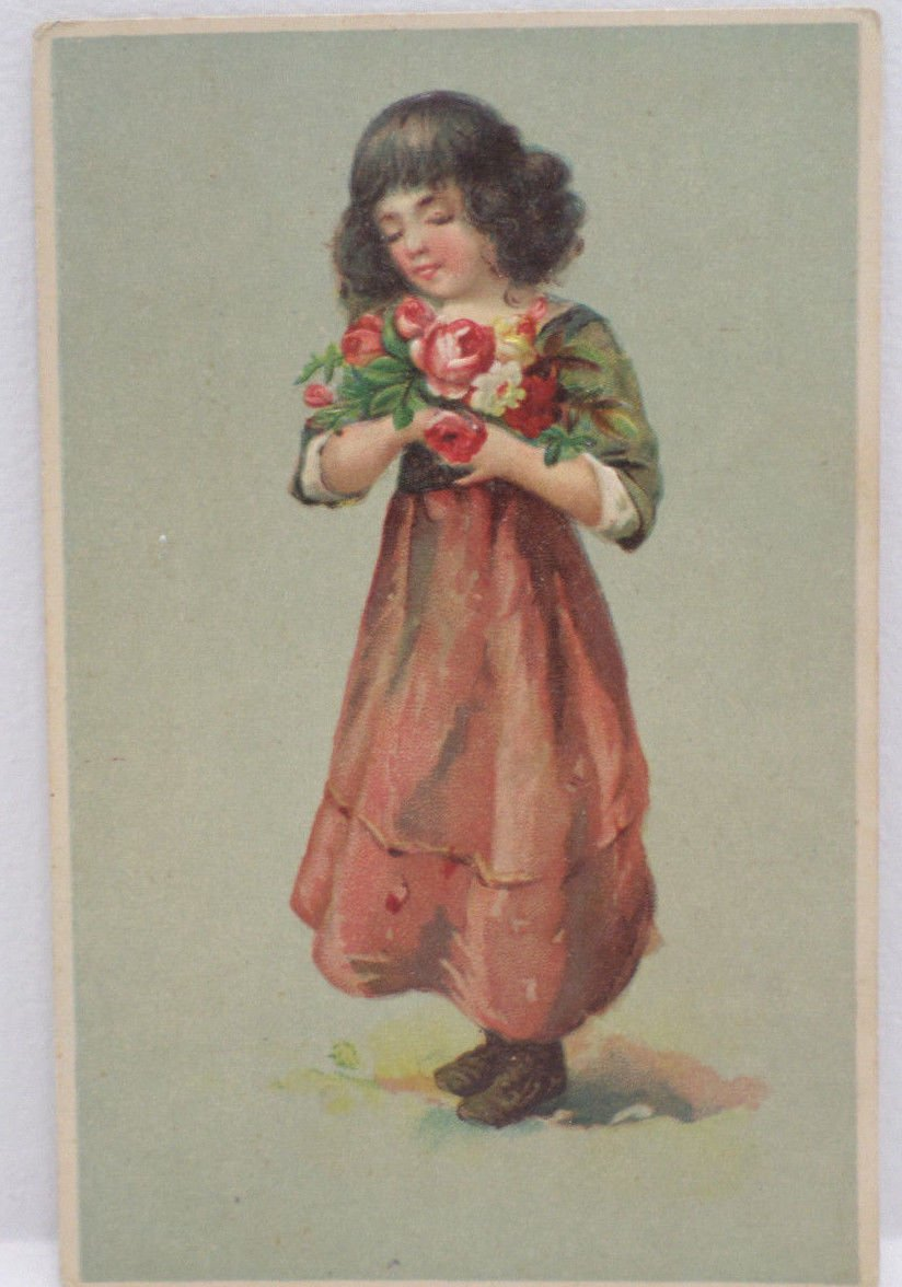 Antique Postcard Young Girl Holding Roses Embossed Unposted Divided