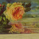 Antique Birthday Postcard Yellow Roses Embossed Unposted divided