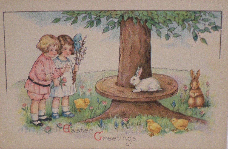 Antique Easter Postcard Rabbits Chicks children Posted Divided