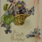 Antique Birthday Postcard Purple Flowers Embossed Unposted undivided Germany
