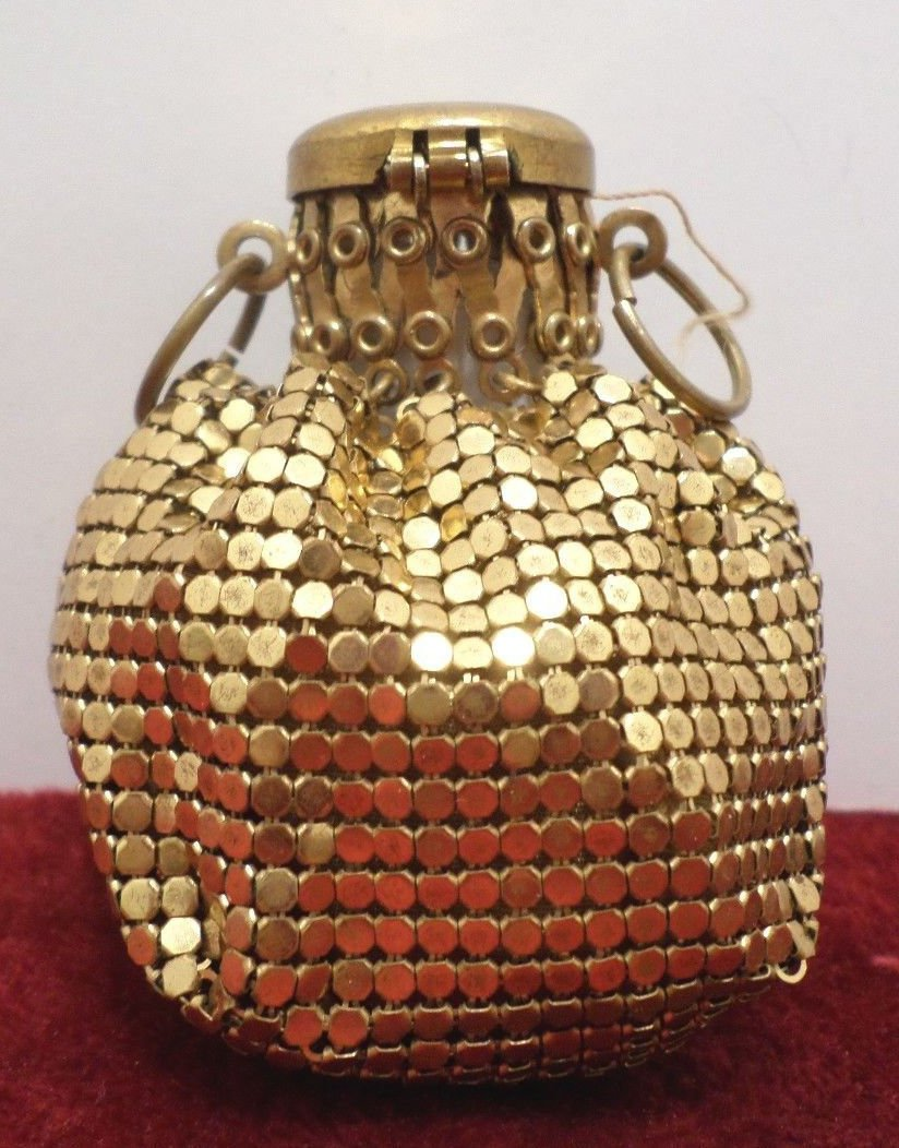 Antique Chatelaine Coin Purse Gold Tone Metal Mesh Expandable Accordian Style
