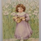 Antique Easter Postcard Little Girl Rabbits Embossed Undivided Unposted