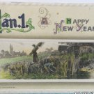 Antique New Year Postcard by Winsch Germany Embossed Divided Posted 1911