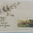 Antique New Year Postcard Country by Winsch Germany Embossed Posted Divided 1913