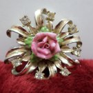 Coro Brooch Gold Tone Metal with a Pink Porcelain Rose