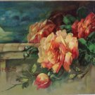 Antique Birthday Postcard Yellow Roses Embossed posted divided Germany
