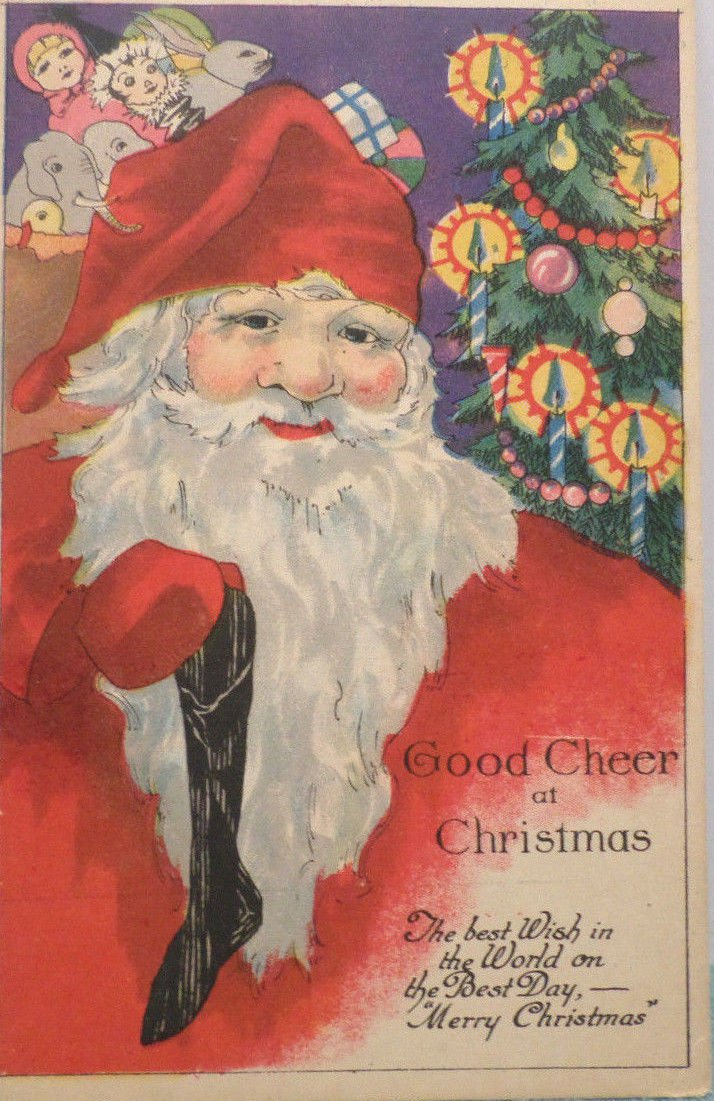 Antique Christmas Postcard Santa Claus Holding a Black Stocking Unposted Divided