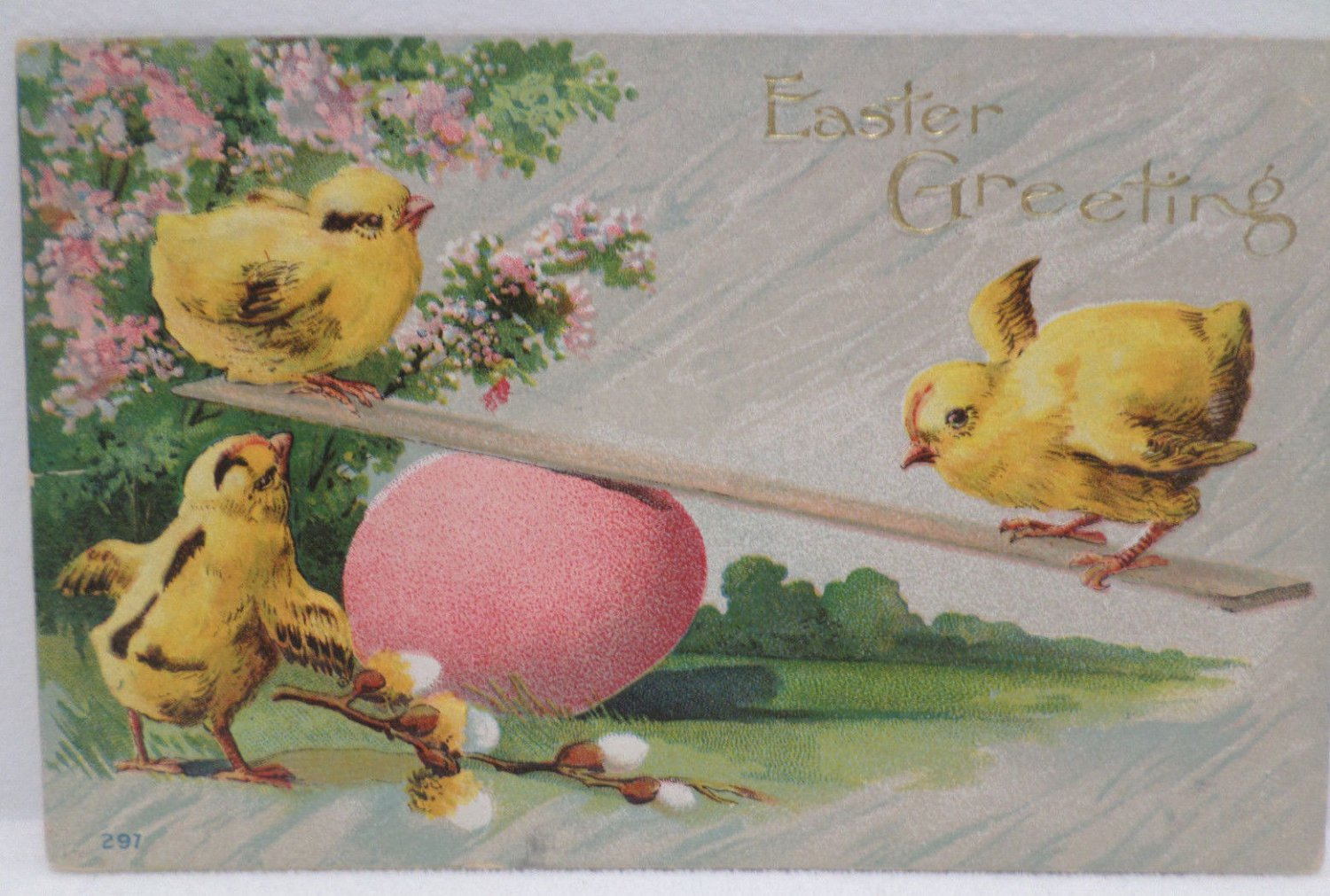 Antique Easter Postcard Baby Chicks Egg Embossed Posted Divided