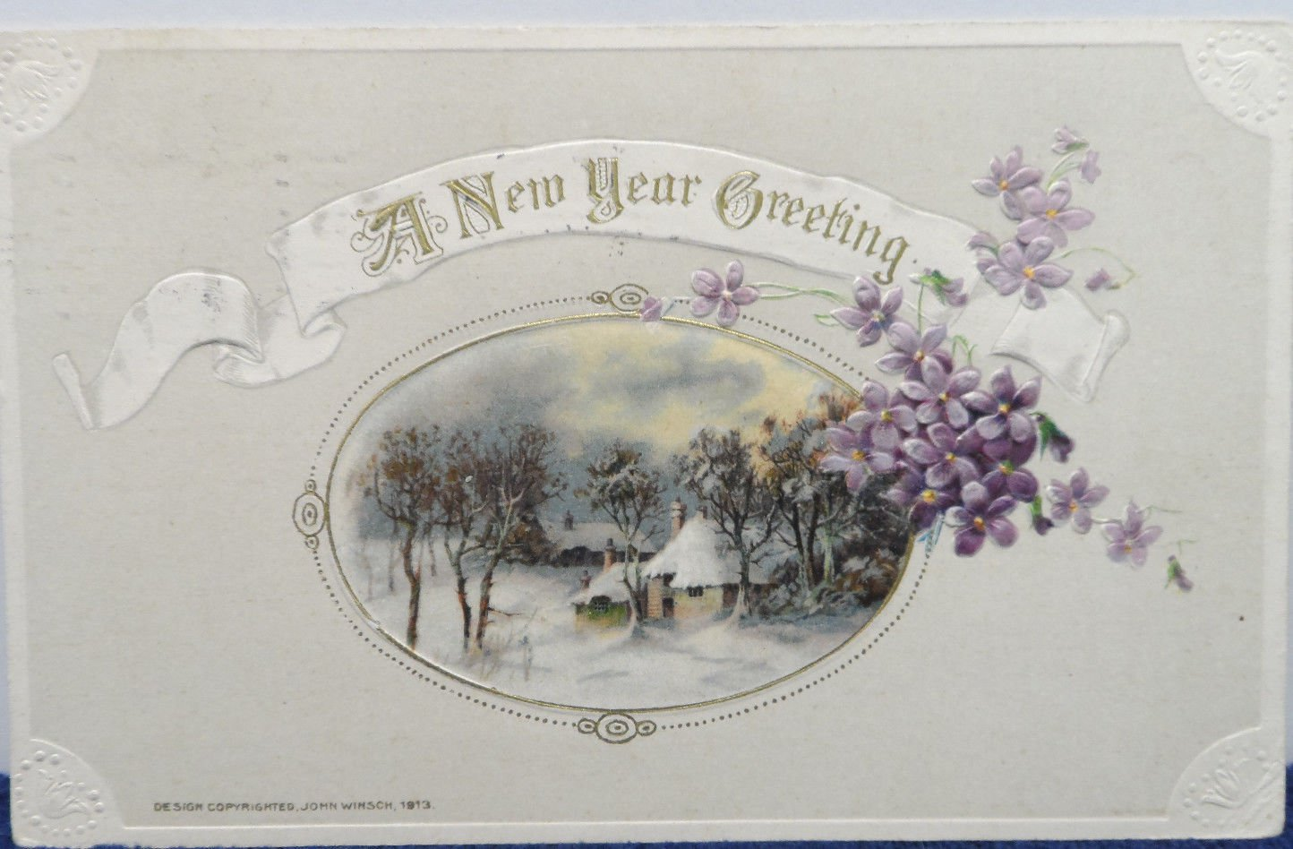 Antique 1910 New Year Postcard by John Winsch Germany Posted Divided Embossed