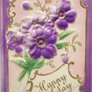 Antique Birthday Postcard Purple Flowers Unposted Divided USA