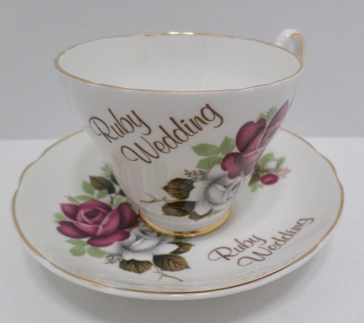 Tea Cup and Saucer Wedding Bone China Argyle Ruby Pattern Made in England