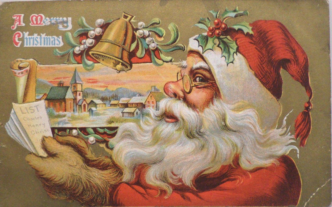 Christmas Postcard Santa Claus Has Brown Furry Animal Hands Embossed