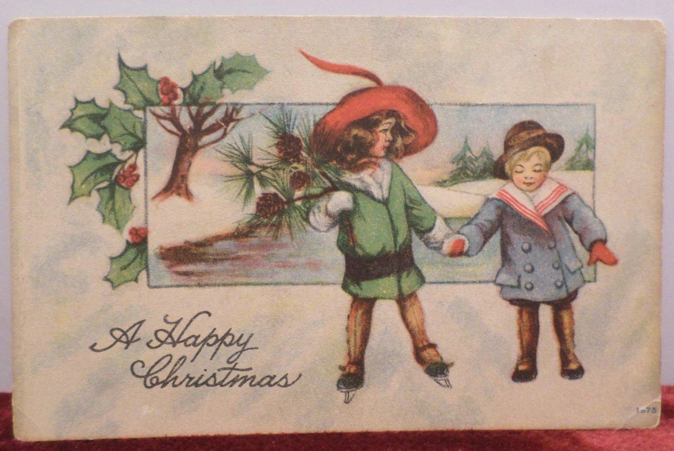 Antique Christmas Postcard Little Children Embossed Unposted Divided