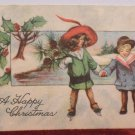 Antique Christmas Postcard Little Children Embossed Unposted Divided