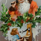 Antique Christmas Postcard Santa Claus Talking on Telephone with Little Girl