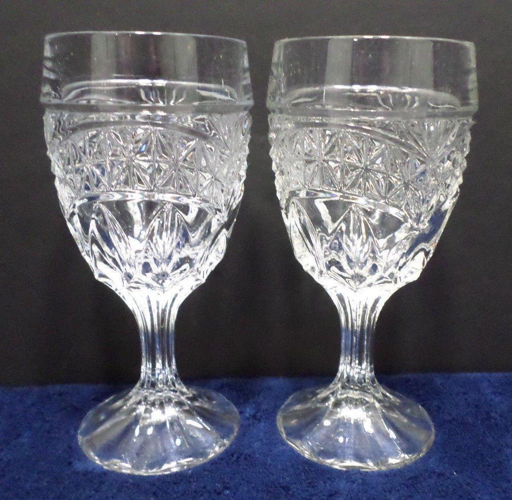 Vintage Cocktail Glasses Clear Crystal Set of 2