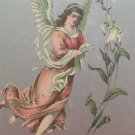 Antique Easter Postcard Angel Lillies Unposted Divided