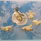 1907 Easter Postcard Chicks Duck Egg Embossed Posted Undivided