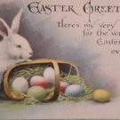 1916 Easter Postcard Rabbit Eggs Basket Posted Divided