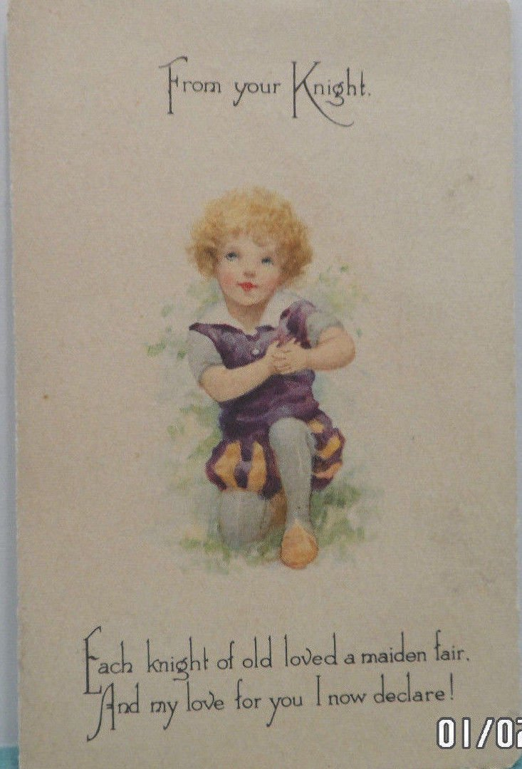 Antique 1915 Valentine Postcard Little Boy Knight Divided and Posted
