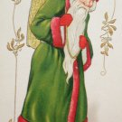 Antique Christmas Postcard  Santa Claus in Green Embossed Divided Unposted