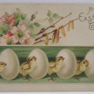 Antique Easter Postcard Chicks Eggs Embossed Posted Divided