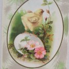 Antique Easter Postcard Yellow Baby Chick on Egg Embossed Unposted Divided