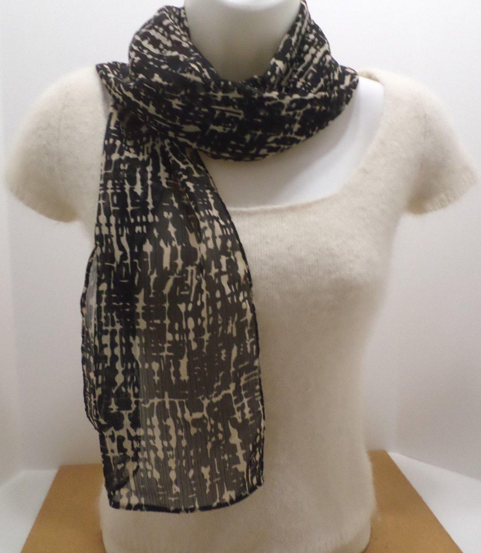 "Vintage Ladies Scarf 100% Polyester Black and Tan 61"" x 10"""