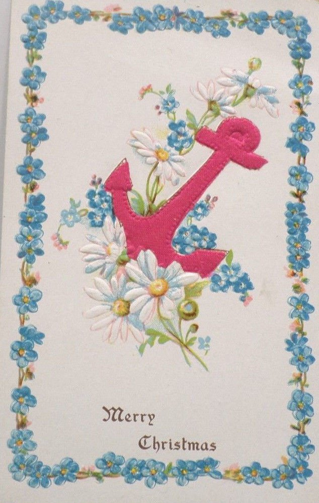 Antique Christmas postcard red silk anchor Germany embossed unposted divided