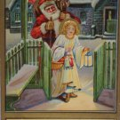 Antique Christmas Postcard Santa Claus Delivering Toys Following Girl into House