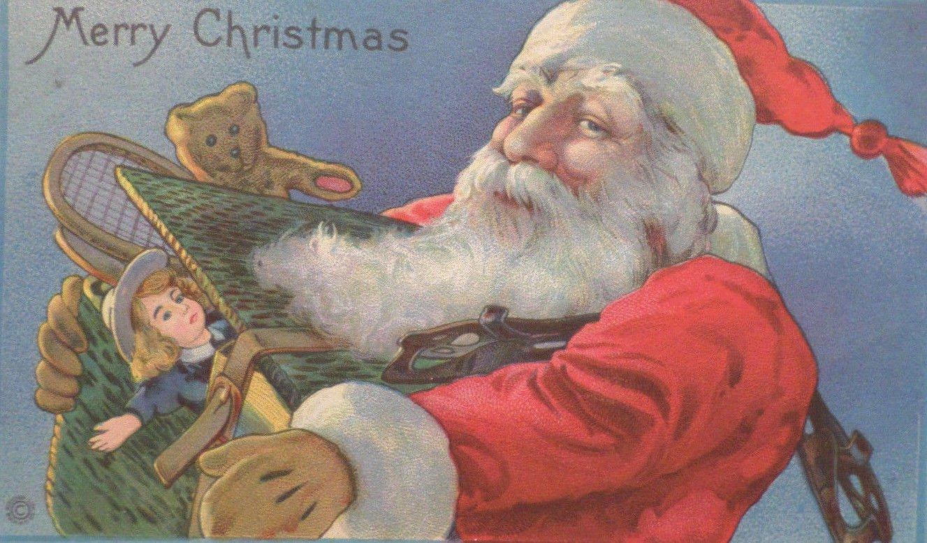 Christmas Postcard Santa Claus Stecher Posted