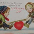 Antique Valentine Postcard Kids on Teeter Totter Divided and Unposted