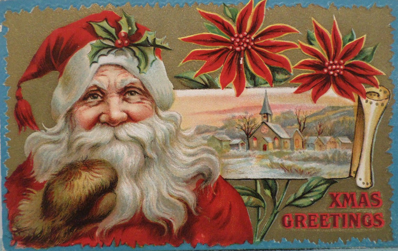 Christmas Postcard Santa Claus Embossed Unposted Divided